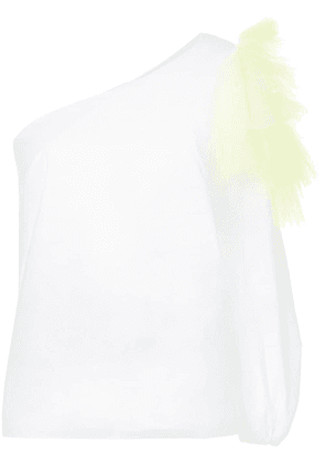 Delpozo one-shoulder mesh top - White