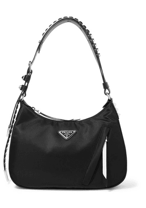 Prada - Vela Studded Leather-trimmed Shell Shoulder Bag - Black
