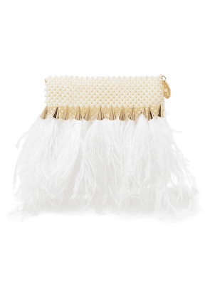 Rosantica - Feather-trimmed Faux Pearl Clutch - White