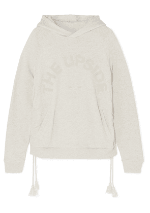 The Upside - Phoenix Tasseled Appliquéd French Cotton-terry Hoodie - Beige