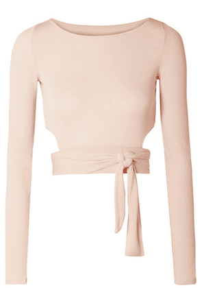 Alo Yoga - Cropped Cutout Stretch-modal Wrap Top - Pastel pink