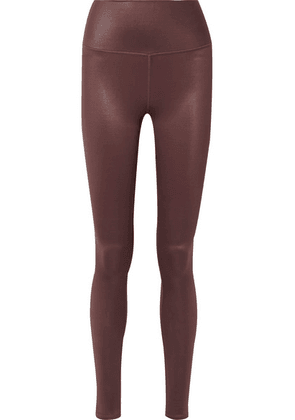 Alo Yoga - Airbrush Metallic Stretch Leggings - Dark brown