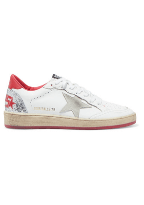 Golden Goose - Ball Star Distressed Glittered Leather Sneakers - White