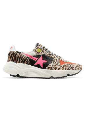 Golden Goose - Running Sole Printed Calf Hair And Canvas Sneakers - Leopard print