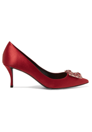Roger Vivier - Crystal-embellished Satin Pumps - Red