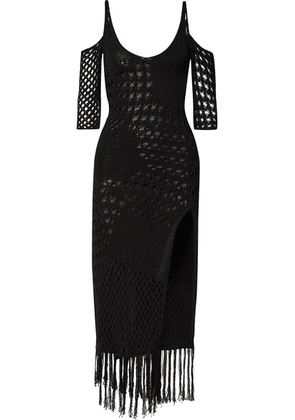 Altuzarra - Octavia Fringed Crocheted Cotton-blend Midi Dress - Black