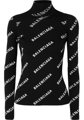 Balenciaga - Open-back Printed Ribbed-knit Turtleneck Sweater - Black
