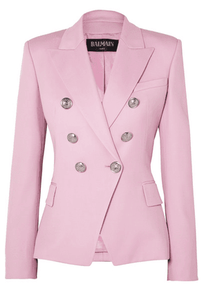 Balmain - Double-breasted Wool-twill Blazer - Pink