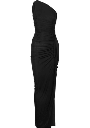 Alexandre Vauthier - One-shoulder Ruched Ribbed Jersey Gown - Black
