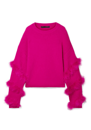 Sally LaPointe - Feather-trimmed Silk And Cashmere-blend Sweater - Fuchsia