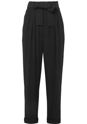 Balmain - Belted Crepe Tapered Pants - Black
