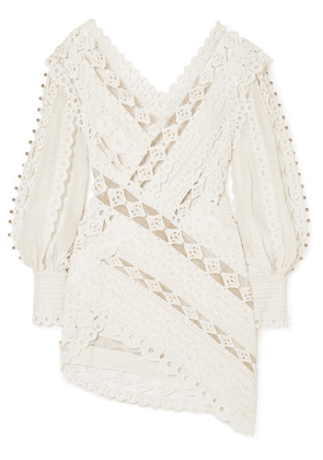 Zimmermann - Moncur Studded Paneled Broderie Anglaise Cotton Mini Dress - Ivory
