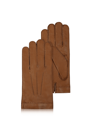 Men's Cashmere Lined Brown Italian Leather Gloves
