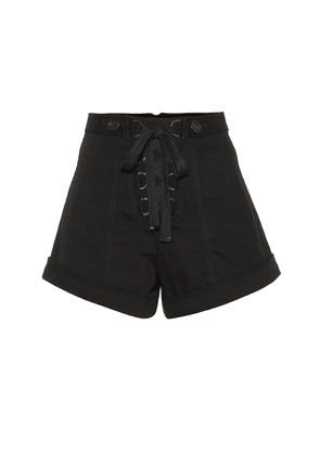 Lace-up stretch cotton shorts