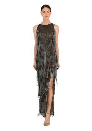 Silk Tulle Long Dress W/ Bead Fringes