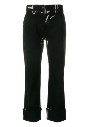 Prada graphic print turn up trousers - Black