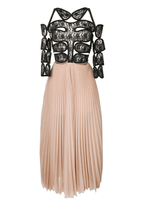 Christopher Kane lace crotch pleated dress - Neutrals