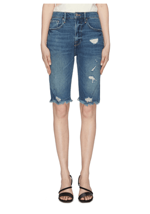'Le Vintage' frayed cuff ripped denim Bermuda shorts