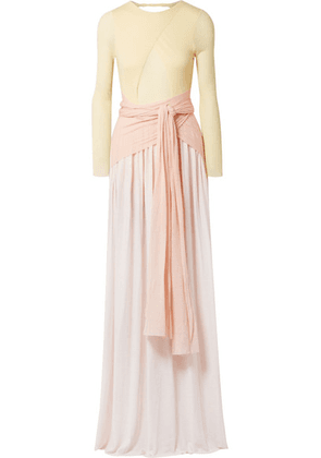 Esteban Cortazar - Open-back Ribbed Wool-blend Jersey Gown - Pastel yellow