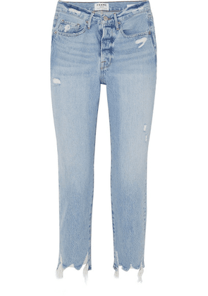 FRAME - Le Original Distressed High-rise Jeans - Light denim