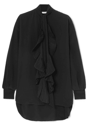 Givenchy - Oversized Ruffle-trimmed Silk Crepe De Chine Blouse - Black