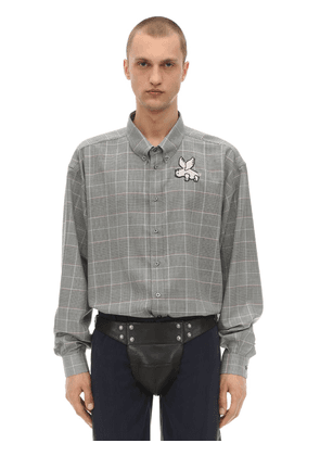 Oversize Wool Prince Of Wales Shirt