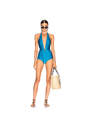 ADRIANA DEGREAS Solid Halterneck Swimsuit in Blue