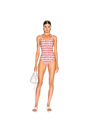 ADRIANA DEGREAS Amore Mio Basic Swimsuit in Novelty,Neutral,Red