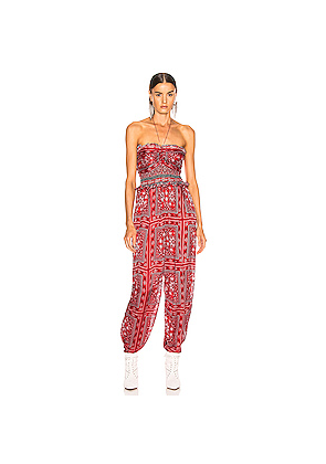 Isabel Marant Errol Jumpsuit in Novelty,Paisley,Red