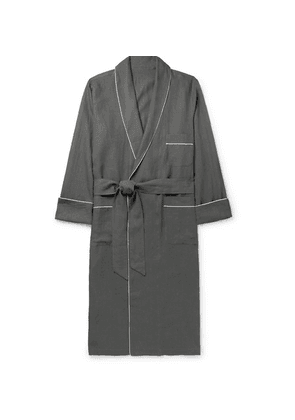 Anderson & Sheppard - Piped Linen Robe - Dark gray
