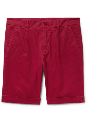 Aspesi - Pleated Cotton-twill Chino Shorts - Red