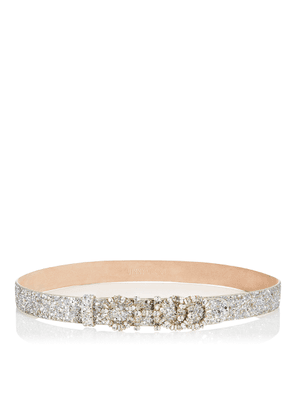 NICE Champagne Coarse Glitter Fabric Belt with Mixed Crystal Logo