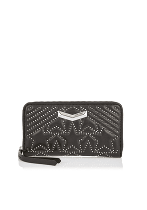 NEFER Black Nappa Leather Zip Around Wallet with Embossed Stars and Mini Studs