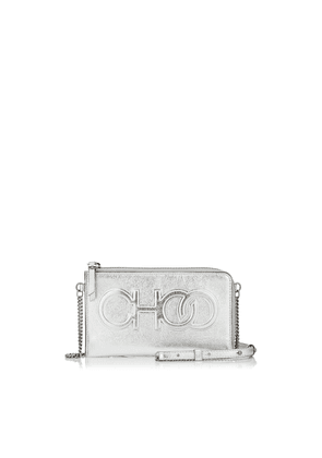 ADELIA Silver Metallic Nappa Leather Small Technology Pouch