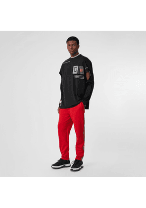 Burberry Icon Stripe Detail Jersey Trackpants, Red