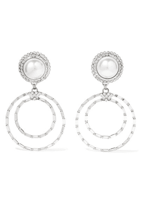 Alessandra Rich - Oversized Silver-tone, Crystal And Faux Pearl Clip Earrings - one size