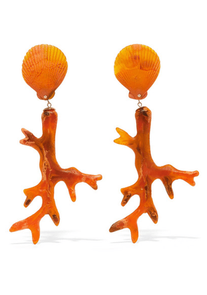 Dinosaur Designs - Coral Branch Resin Earrings - Orange