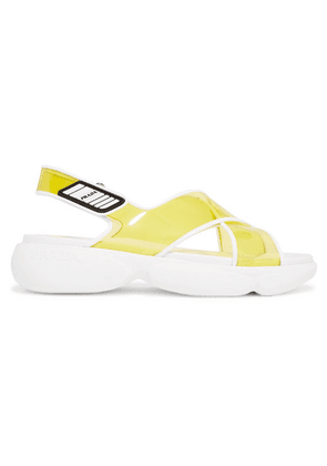 Prada - Logo-embossed Rubber-trimmed Leather And Pvc Sandals - Yellow