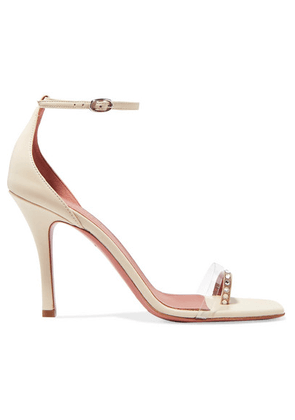 Amina Muaddi - Oya Crystal-embellished Pvc And Leather Sandals - Ivory