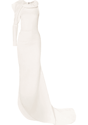 Maticevski - Testament One-sleeve Ruffled Stretch Cotton-blend Cady Gown - White