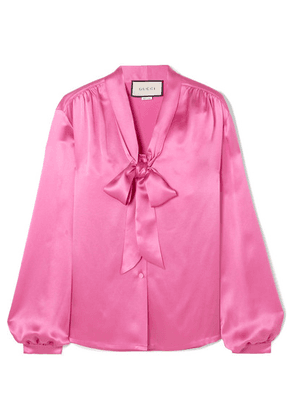 Gucci - Pussy-bow Silk-satin Blouse - Pink