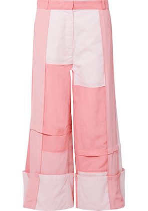 JW Anderson - Patchwork Cotton, Brushed-twill And Crepe De Chine Pants - Pink