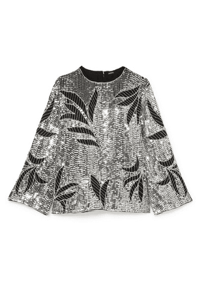 Dodo Bar Or - Clara Embellished Sequined Tulle Top - Silver