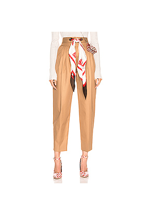 Burberry Silk Scarf Trouser in Brown
