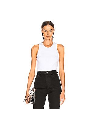 Helmut Lang Stacked Logo Tank Top in White