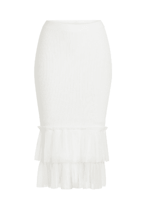 Jonathan Simkhai Knit Pencil Skirt with Chiffon Hem