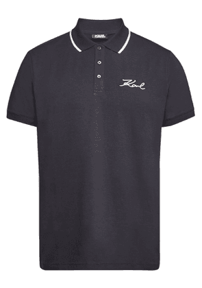 Karl Lagerfeld Embroidered Cotton Polo T-Shirt