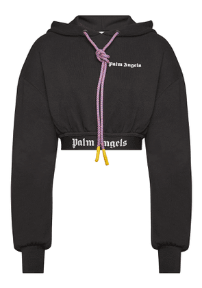 Palm Angels Logo Cropped Cotton Hoody
