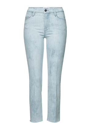 Frame Denim Le High Straight Raw Edge Cropped Jeans