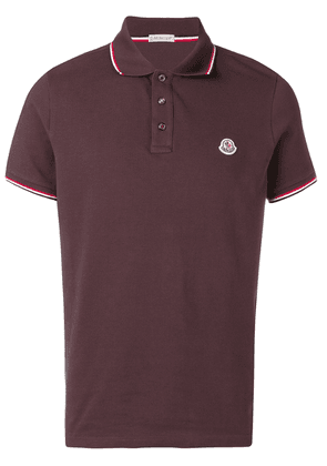 Moncler contrast trim polo short - Red